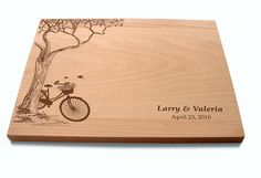 Custom Cutting Board with Tree and Bike Lovers Couple's Anniversary Gift Wedding Present Bridal Shower Gift on Etsy, $34.12