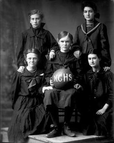 Cool uniforms. :)   Harney County High School, ca. 1905, women's basketball team