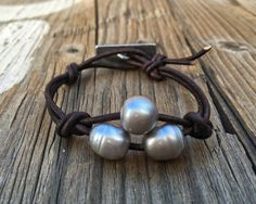 Leather Silver Pearl Bracelet- Minimal Jewelry- Aged Leather - Large Pearls - Handcast GreenGirl Arrow Button by DeetabyDesign on Etsy