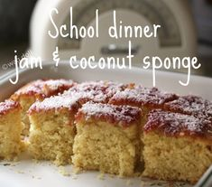 School Dinner Jam and Coconut Cake School dinners 'jam and coconut sponge cake' recipe Jam And Coconut Cake, Coconut Sponge Cake, Raspberry And Coconut Cake, Coconut Cakes, Lemon Cakes, Strawberry Cakes, Tray Bake Recipes, Baking Recipes, Dessert Recipes