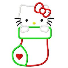 Digi Dolls Kitty Christmas Stocking Applique Embroidery Design 4x4 5x7 6x10 Hello (email delivery - instant download). $4.00, via Etsy.