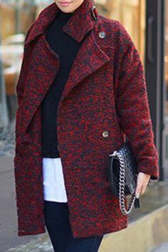 Elegant Women's Stand Collar Colormix Long Sleeve Coat