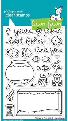 Lawn Fawn Fintastic Friends Stamp Set now available at The Rubber Buggy Lawn Fawn Stamps, Tank You, Tampons, Lettering, My Stamp, Digital Stamps, Clear Stamps, Diy Cards, Fish Tank