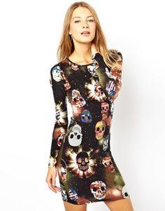 Brave Soul Body-Conscious Dress In Skull Print