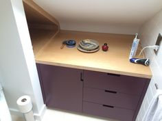 Bespoke bathroom cabinet in Hackney, London. Made by Karl Rees > Cabinet Maker. Bespoke Furniture, Furniture Design, Cabinet Makers, Bathroom Cabinets, Furniture Making, Carpenter, London, Ideas, Bathroom Vanity Cabinets