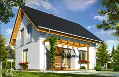 Wizualizacja tylna projektu domu Ania - pracownia MG Projekt #mgprojekt #projekt #domy