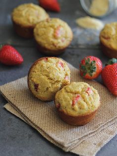 These strawberry corn muffins have a nice hearty texture from the corn meal and almond flour and are slightly sweet from the strawberries. Strawberry Muffins, Strawberry Recipes, Strawberry Picking, Gluten Free Muffins, Gluten Free Recipes, Muffin Recipes, Breakfast Recipes, Brunch Recipes, Corn Cakes