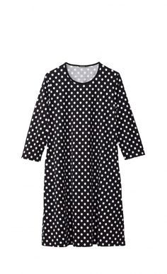 This blue and white Pallo print dress is made of cotton jersey and has a wide, slightly flared cut to an above-knee hemline. Details include neckline binding, three-quarter sleeves, and side slit pockets. Marimekko, Polka Dot Top, Hemline, Short Sleeve Dresses, Blue And White, Stripes, Style Inspiration, Elegant, Cotton