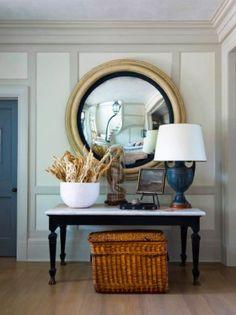 oversize porthole mirror, teal lamp