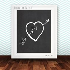 Simple heart with arrow on a chalkboard background with U+I.    Show your feelings!    This is an INSTANT DOWNLOAD digital art. ***NO