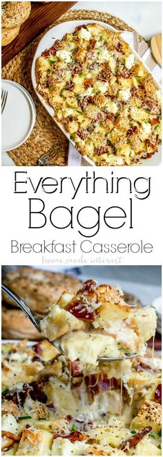 #AD Everything Bagel Make Ahead Breakfast Casserole with Dunkin' Donuts K-Cups & Creamer Available at Stop and Shop!