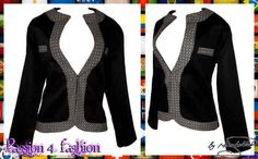 Black modern traditional ladies jacket trimmed with  shweshwe (brown)