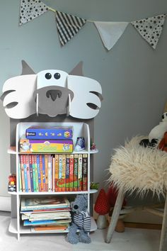 Quirky wolf shaped kids bookcase.  For a piece of furniture which won't fail to put a smile on anyone's face, this funky wolf bookcase is a fantastic feature in any child's bedroom. Combining aesthetics with functionality, it will hold books, games or toys... this Big Bad Wolf will be part of children's games even when it's time to clear away!