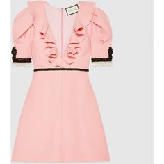 Gucci Crêpe Silk Wool Dress (€2.640) ❤ liked on Polyvore featuring dresses, pale pink, v-neck dresses, v neck dress, v neck cocktail dress, tight pink dress and deep v neck cocktail dress
