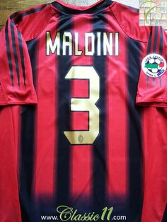 Relive Paolo Maldini's 2004/2005 Serie A with this vintage Adidas AC Milan home football shirt.