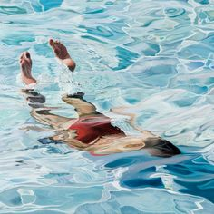 Impressive Hyper-Realistic Paintings of Taking a Dip in the Water by Joseph Moncada Juaneda Underwater Painting, Hyper Realistic Paintings, Spanish Painters, Water Art, Oeuvre D'art, Oeuvres, Painting Inspiration, Painting & Drawing, Painting Canvas
