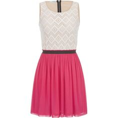 maurices 2Fer Dress With Lace Top In Pink Escape found on Polyvore