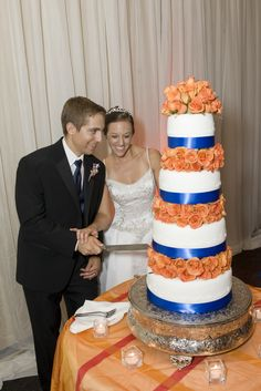 Orange and blue wedding cake by KB Kakes! So gorgeous! Check out our website at www.kbkakes.com or facebook page at www.facebook.com/TheKakery
