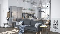 Take a look at the latest collection of 25 Attractive Modern Apartment Interior with Scandinavian Style,you might get inspired for entering this style in your home. Industrial Interior Design, Scandinavian Interior Design, Industrial Interiors, Modern Industrial, Industrial Apartment, Industrial Living, Industrial Decorating, Industrial Farmhouse, Industrial Bookshelf