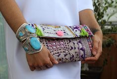 clutch etnico boho tribal kuchi afghan gypsy bag por azulcasinegro
