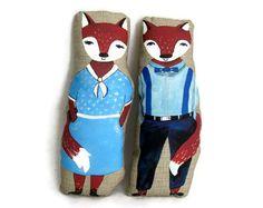 Two Plush Foxes - children's plush toy,