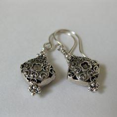 Everyday sterling silver elegant earrings Balinese oxidized silver diamond scroll design Balinese Sterling Silver dangle earrings - pinned by pin4etsy.com