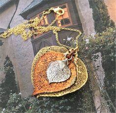 Real Aspen Leaf Jewelry, Original Custom Combination, Gold, Copper, Silver Colorado aspen necklace pendant (EA108-1)