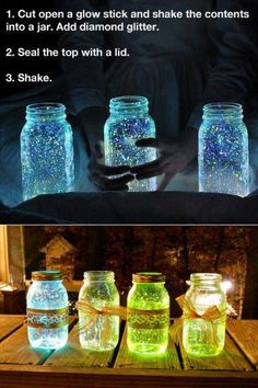 This is pretty awesome!! Sparkly glowing mason jars! What's not to love
