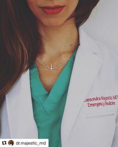 Thank you @dr.majestic_md  Some people wear they're heart on their sleeve but I wear mine around my neck!  I have to admit... I'm a total nerd. So this necklace fits me perfectly.   Only when I learned to read EKGs (electrocardiograms) did I realize how complex and amazing the heart is!  Some fun facts about the heart:  1. The size is approximately your two hands clasped together  2. The heart beat sound is actually the valves opening and closing  3. Each minute the heart pumps about 1.5…