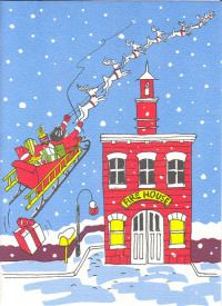 Santa at the Firehouse Christmas Cards