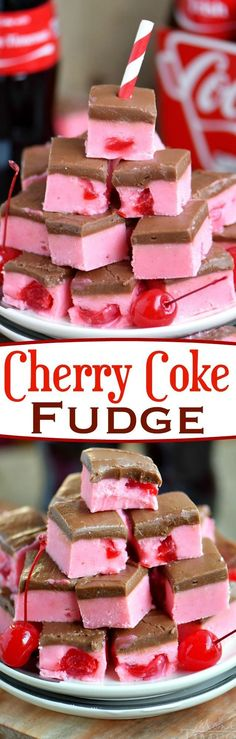 Because we can… Cherry Coke Fudge! A decadent cherry fudge topped with a Coca-… Because we can… Cherry Coke Fudge! A decadent cherry fudge topped with a Coca-Cola chocolate frosting! This irresistible fudge is sure to be a hit! Fudge Recipes, Candy Recipes, Baking Recipes, Sweet Recipes, Frosting Recipes, Köstliche Desserts, Delicious Desserts, Dessert Recipes, Yummy Food