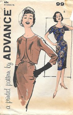 1960's Wiggle Dress and Bolero Advance 9926 Sewing Pattern, offered on Etsy by GrandmaMadeWithLove