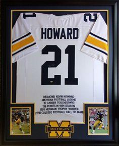 ad403e467 Desmond Howard Framed Stat Jersey Signed GTSM COA Autographed Michigan  Heisman Mister Mancave http