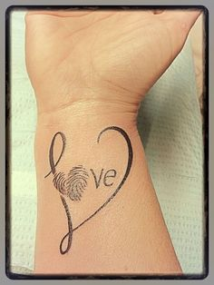 My tattoo - finally did it and love love love it  hubby's writing for the word itself and my boys thumb print heart - LOVE
