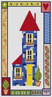 Blue House cross stitch kit