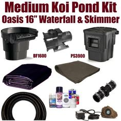 "20 x 20 Medium Koi Pond Kit 3,000 GPH Pump Atlantic Oasis 16"" Waterfall & Skimmer MDA3 by Patriot. $937.50. 1½"" x 25' FreezeFlex PVC Hose, 1½"" Check Valve, (1) 20 Watt Rock Lights with 20 Watt Transformer, All Installation Hardware & Directions. 20 x 20 EPDM LifeGuard Liner (lifetime warranty) and 400 Square Feet of Underlayment, Atlantic PS3900 Oasis 6"" Skimmer & BF1600 Oasis 16"" Waterfall, & 3,000 GPH Pump. Ships FedEx Ground - Additional Carrier Charges Ma..."