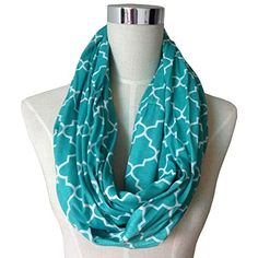 SALE PRICE $11 - Pop Fashion Womens Infinity Scarf w/ Zipper Pocket & Pattern Print, Infinity Scarves