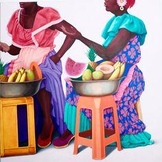 Rita y Azuzena Tropical Paintings, Tropical Art, Art Pics, Art Pictures, Black Art, Costume Africain, Art Beauté, Haitian Art, Caribbean Art