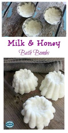 These Milk and Honey Bath Bombs make your bath time a luxurious and heavenly scented experience as the melt into your warm water. Use a silicone mold, paper cups, or something like these vintage molds I used to create pretty custom milk and honey bath bombs for your tub.