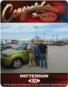 Congratulations to Imy Wood on her new 2014 Kia Soul from Blake Mawson! From Patterson Kia