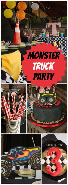 out this cool monster truck boy birthday party! See more party ideas at !Check out this cool monster truck boy birthday party! See more party ideas at ! Festa Monster Truck, Monster Trucks, Monster Party, Monster Truck Cakes, Monster Jam Cake, Monster Truck Birthday Cake, Baby Boy Birthday Cake, 3rd Birthday, Birthday Cakes