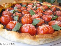 Black Olive Tart with Cherry Tomatoes.