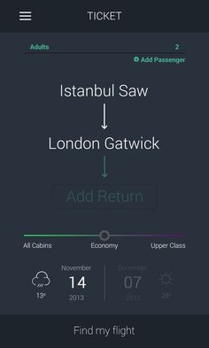 Find my flight by Emre KILIÇ / information design Mobile Web Design, App Ui Design, User Interface Design, Flat Design, Design Design, Android, Design Thinking, Motion Design, App Design Inspiration