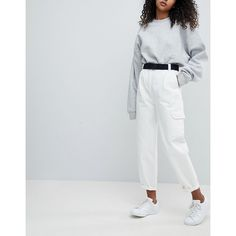 ASOS Tapered Jeans with Curved Seams and Belt in Off White with... (215 ILS) ❤ liked on Polyvore featuring jeans, white, white jeans, white high waisted jeans, asos jeans, loose tapered jeans and high waisted jeans