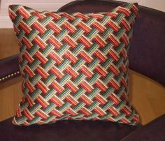 Items similar to Bargello Needlepoint Pillow, Hand Embroidered Pillow, Basketweave Design Decorative Cushion, Hand Embroidered Tapestry Pillow on Etsy Motifs Bargello, Broderie Bargello, Bargello Patterns, Bargello Needlepoint, Needlepoint Pillows, Needlepoint Designs, Needlepoint Stitches, Needlework, Cross Stitch Pillow