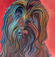 "Colorful Custom Pet Portrait - One Pet - ""Molly the Labradoodle"""