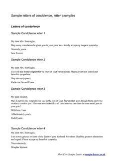 Sympathy Condolence Letter - A sympathy or condolence note can be ...