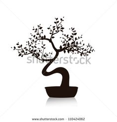 Vector black bonsai tree isolated on white background