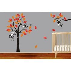 Monkey Tree Kids Nursery Vinyl Decals Wall Art Stickers