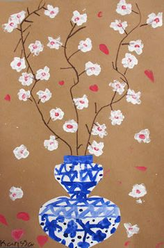 Mr. O's Art Room: 2nd Grade Ming Vases with Cherry Blossoms